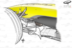 Jordan EJ14 front suspension, lower wishbone L-shaped keel fixture point