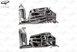 McLaren MP4-29 front wing comparison (upper, new)