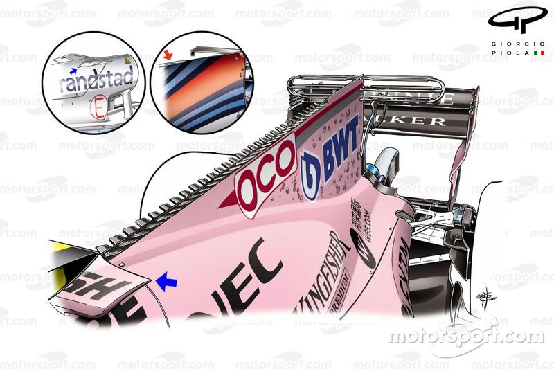 Nouveau capot moteur de la Force India VJM10, GP de Singapour