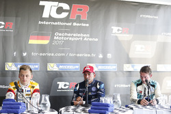 Press Conference, Gianni Morbidelli, West Coast Racing, Volkswagen Golf GTi TCR, second place Mato Homola, DG Sport Competition, Opel Astra TCR, third place Jean-Karl Vernay, Leopard Racing Team WRT, Volkswagen Golf GTi TCR