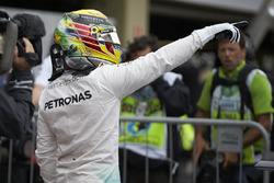 Lewis Hamilton, Mercedes AMG F1 celebrates his pole position in qualifying parc ferme