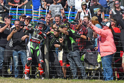 Race winner Jonathan Rea, Kawasaki Racing with fans