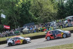 Timmy Hansen, Team Peugeot Hansen, et Toomas Heikkinen, EKS RX Audi S1
