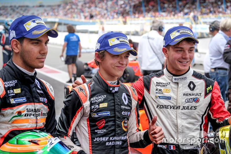 Sieger Lando Norris, Josef Kaufmann Racing, 2. Platz Dorian Boccolacci, Tech 1 Racing, 3. Platz Jehan Daruvala, Josef Kaufmann Racing