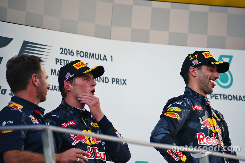 The podium (L to R): Christian Horner, Red Bull Racing Team Principal with second placed Max Verstappen, Red Bull Racing and race winner Daniel Ricciardo, Red Bull Racing