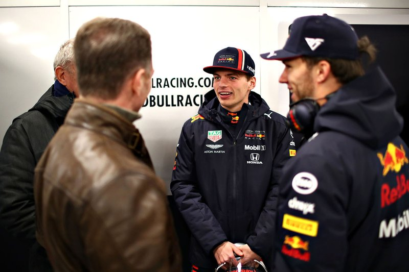 Max Verstappen, Red Bull Racing, Pierre Gasly, Red Bull Racing, Christian Horner, Team Principal, Red Bull Racing