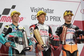 Podium: second place Lorenzo Dalla Porta, Leopard Racing, Race winner Kaito Toba, Honda Team Asia, third place Aron Canet, Max Racing Team