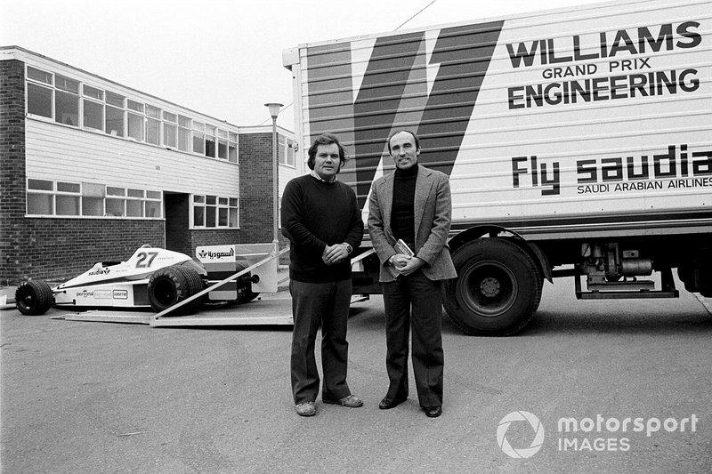 Патрик Хэд и Фрэнк Уильямс на презентации Williams FW06 на новой базе команды, 1978 год