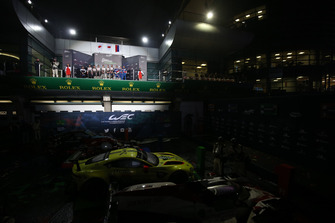 Overall podium: winners #7 Toyota Gazoo Racing Toyota TS050: Mike Conway, Kamui Kobayashi, Jose Maria Lopez, second place #8 Toyota Gazoo Racing Toyota TS050: Sebastien Buemi, Kazuki Nakajima, Fernando Alonso, third place, #11 SMP Racing BR Engineering BR