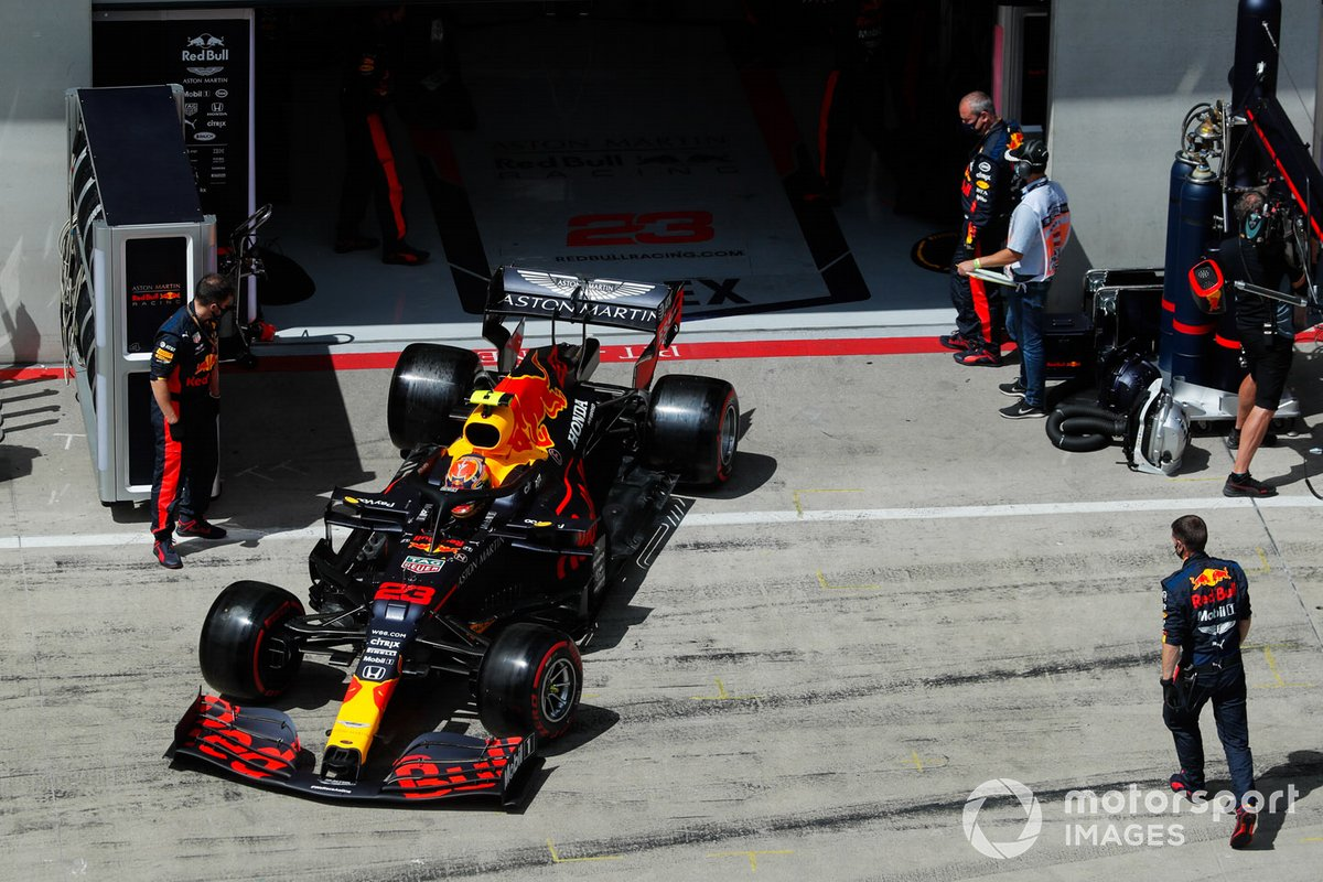 Alex Albon, Red Bull Racing RB16, exits his pit garage