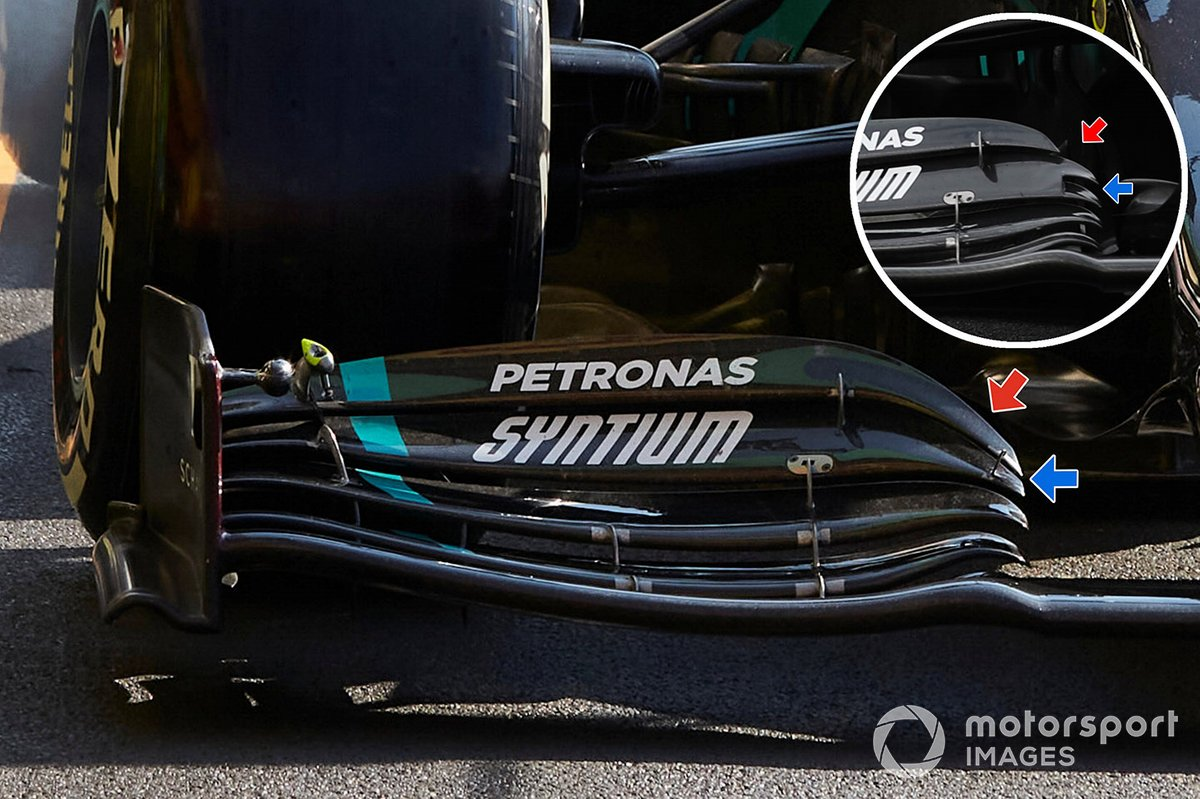 Mercedes F1 W11 front wing detail