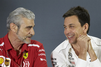 Maurizio Arrivabene, Team Principal, Ferrari, and Toto Wolff, Executive Director (Business), Mercedes AMG, in the team principals Press Conference