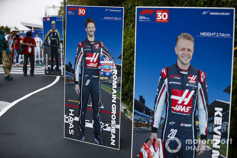 Photo boards for Romain Grosjean, Haas F1 Team, and Kevin Magnussen, Haas F1 Team