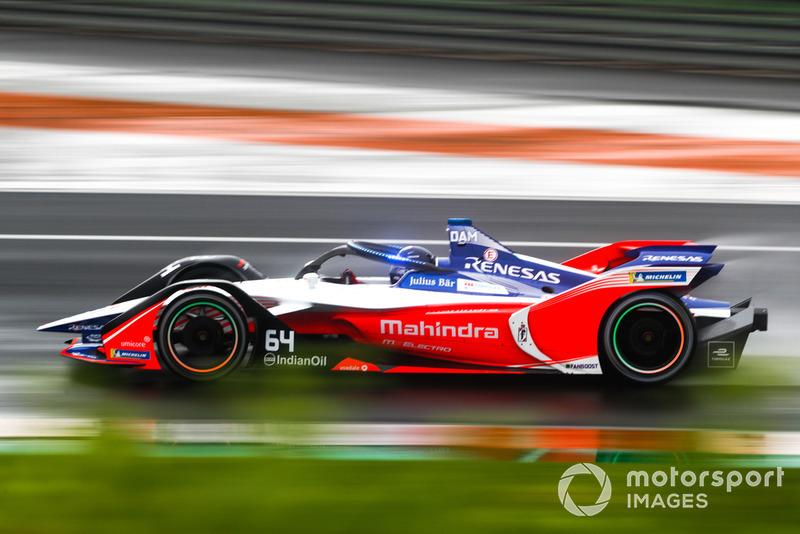 Jérôme d'Ambrosio, Mahindra Racing, M5 Electro con las nuevas luces LED azules del Halo, en modo ataque