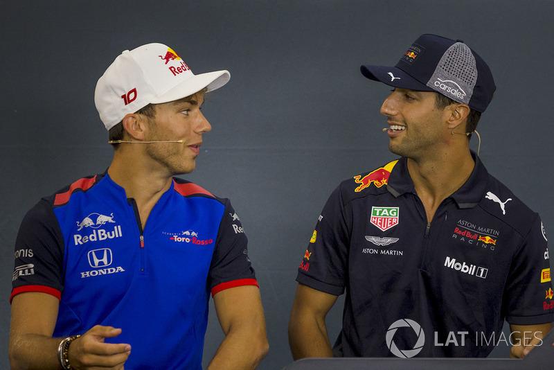 Pierre Gasly, Scuderia Toro Rosso Toro Rosso and Daniel Ricciardo, Red Bull Racing in the Press Conference