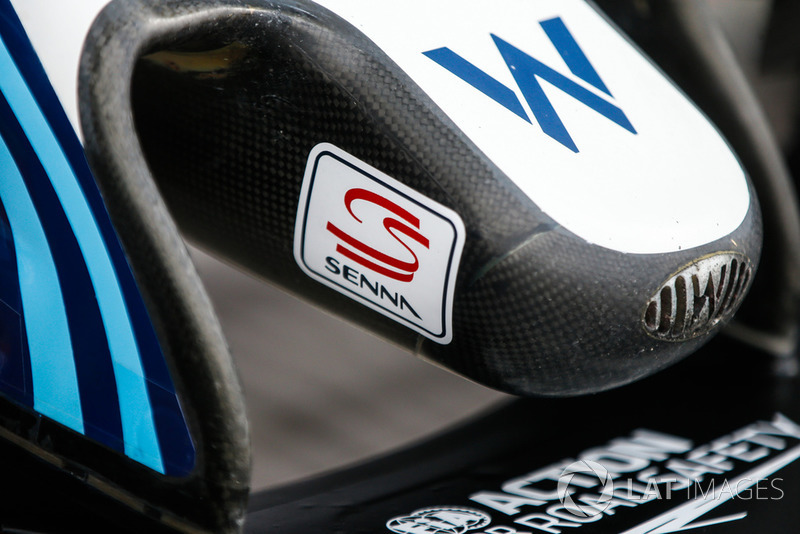 Nose of Williams FW41 with a Senna sticker