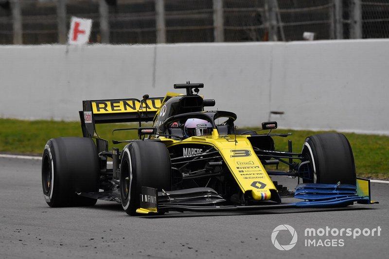 Daniel Ricciardo, Renault F1 Team R.S. 19, avec de la peinture aéro sur l'aileron avant