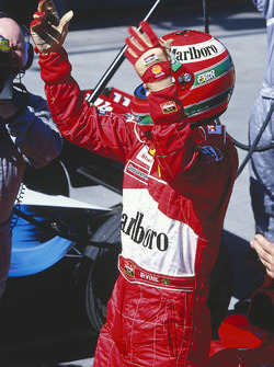 Eddie Irvine, Ferrari F399 celebrates the win