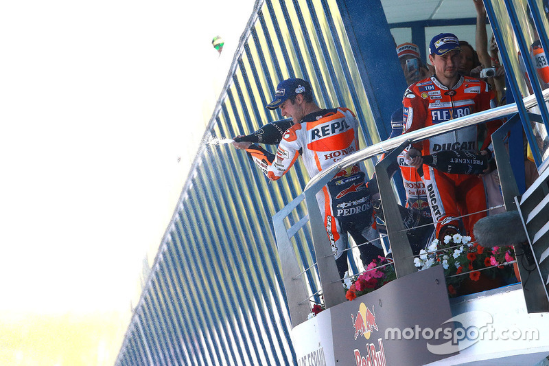 Podium: Race winner Dani Pedrosa, Repsol Honda Team, second place Marc Marquez, Repsol Honda Team