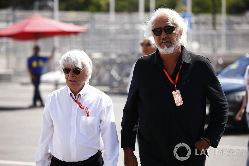 Bernie Ecclestone, Presidente Honorario de la Fórmula 1 y Flavio Briatore