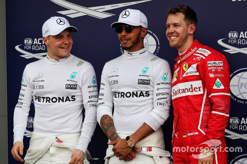 Polesitter Lewis Hamilton, 2. Sebastian Vettel, 3. Valtteri Bottas