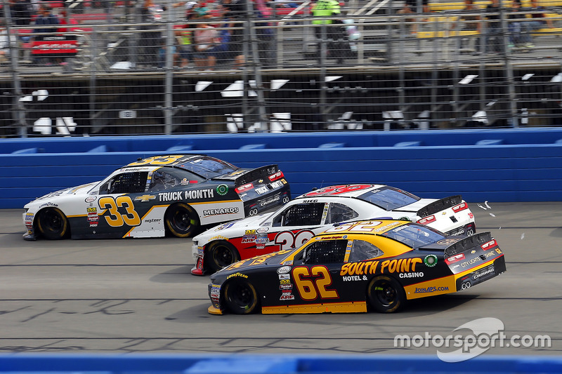 Brendan Gaughan, Richard Childress Racing, Chevrolet; Ryan Sieg, RSS Racing, Chevrolet; Brandon Jones, Richard Childress Racing, Chevrolet