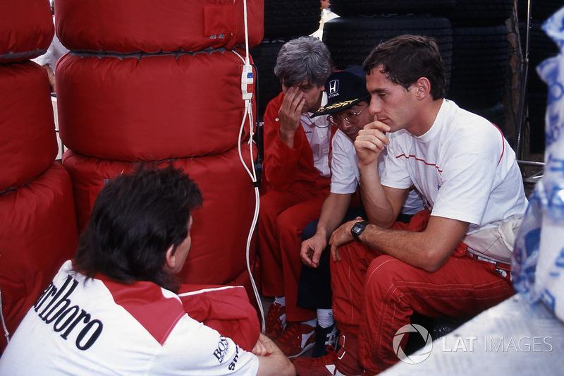 Ayrton Senna, McLaren, Steve Nichols, Gordon Murray, McLaren Designer, Osamu Goto, Honda Racing Team Leader