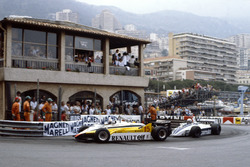 Alain Prost, Renault RE30B, leads Riccardo Patrese, Brabham BT49D-Ford