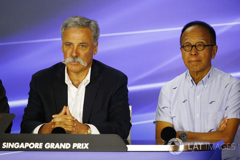 Pressekonferenz:  Chase Carey, Formel-1-Chef, Ong Beng Seng