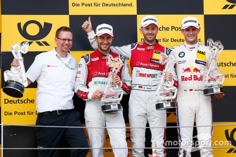 Podio: Ganador de la carrera René Rast, Audi Sport Team Rosberg, Audi RS 5 DTM, segundo lugar Mike Rockenfeller, Audi Sport Team Phoenix, Audi RS 5 DTM, tercero Marco Wittmann, BMW Team RMG, BMW M4 DTM