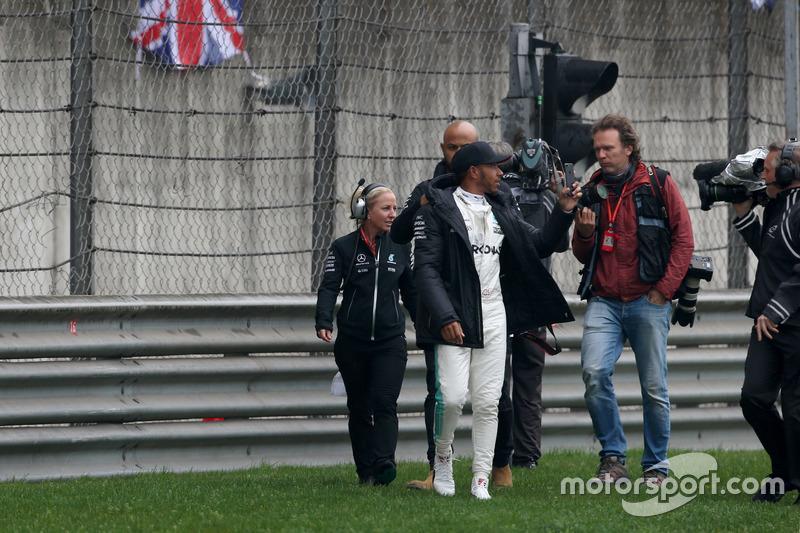Lewis Hamilton, Mercedes AMG, takes to the track to entertain the fans