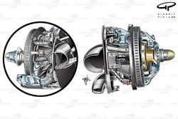 Toro Rosso STR7 front brake assembly (Caliper reposistioned)