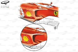 Ferrari F2004 sidepods (F2003 inset), note height difference by change in wing mirror)