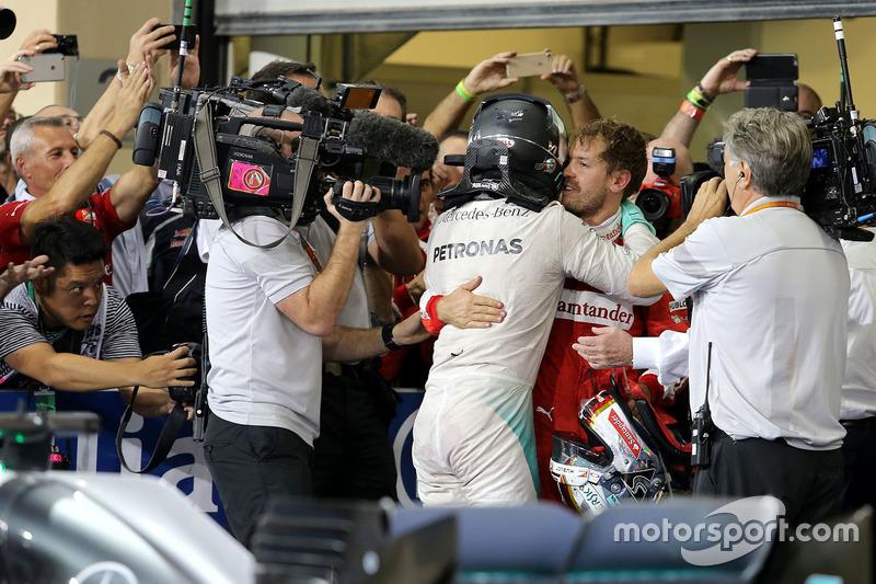 2. und Weltmeister Nico Rosberg, Mercedes AMG F1 and Sebastian Vettel, Scuderia Ferrari
