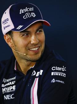 Sergio Perez, Force India, nella conferenza stampa