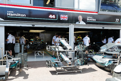 Mercedes AMG F1 W09 cars in the pit lane
