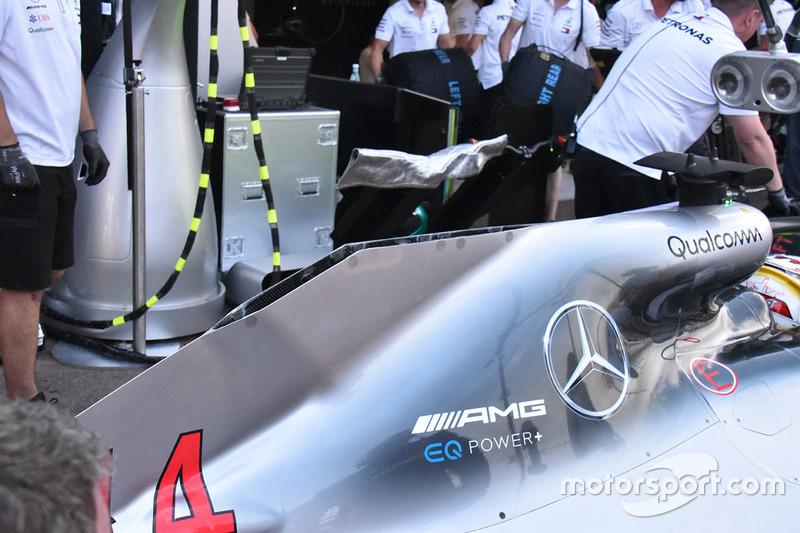 Detalle de la carrocería trasera Mercedes AMG F1 W09
