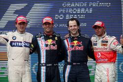 Podium: second place Robert Kubica, BMW Sauber, Race winner Mark Webber, Red Bull Racing RB5, Ciaron Pilbeam, Race Engineer, Red Bull Racing, third place Lewis Hamilton, McLaren