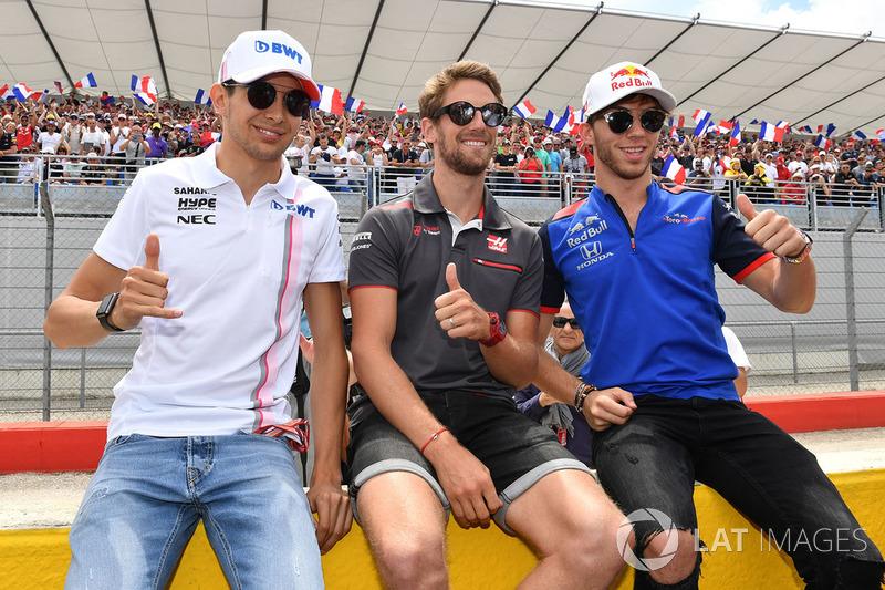 Esteban Ocon, Force India F1, Romain Grosjean, Haas F1 y Pierre Gasly, Scuderia Toro Rosso