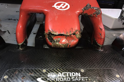 The Haas F1 Team VF-18 of Romain Grosjean after hitting a groundhog during FP2