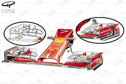 Ferrari F14 T new front wing, old specifciation upper right inset, yellow highlighting shows slot changes