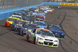 Chase Elliott, Hendrick Motorsports Chevrolet, Martin Truex Jr., Furniture Row Racing Toyota, Denny Hamlin, Joe Gibbs Racing Toyota