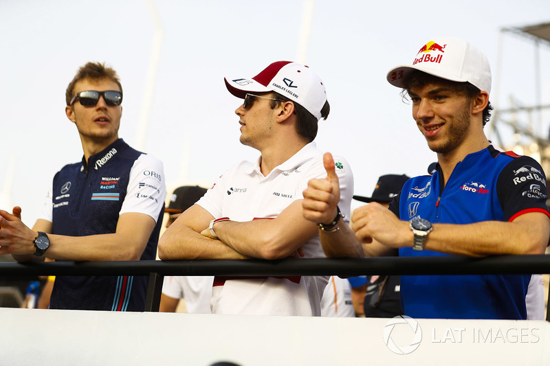 Sergey Sirotkin, Williams Racing, Charles Leclerc, Sauber, and Pierre Gasly, Toro Rosso, on the drivers' parade