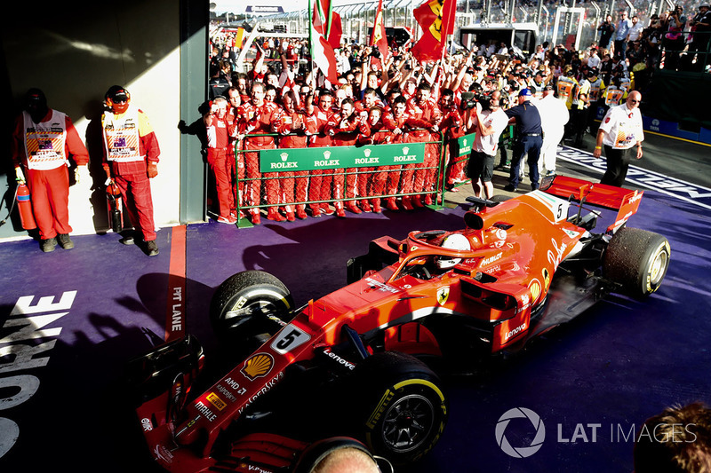 Race winner Sebastian Vettel, Ferrari SF71H arrives in parc ferme