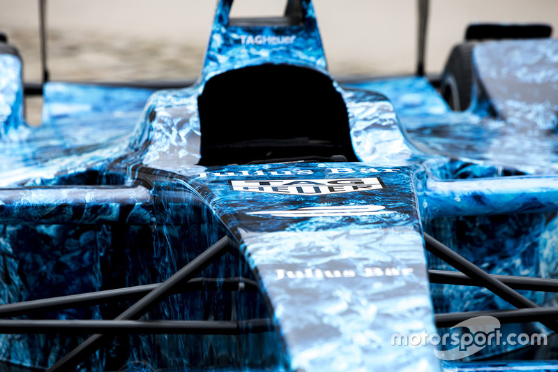 Iceberg livery on a Formula E car that will be auctioned off to raise money to fight climate change