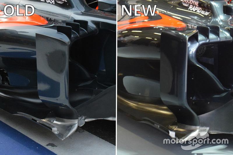 McLaren MP4-31 sidepod comparison