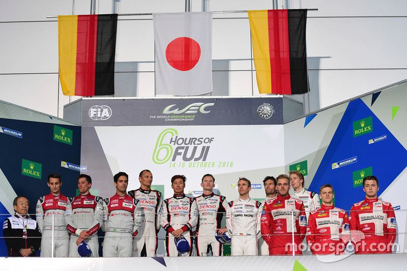 Podium LMP1: race winners #6 Toyota Racing Toyota TS050 Hybrid: Stéphane Sarrazin, Mike Conway, Kamui Kobayashi, second place #8 Audi Sport Team Joest Audi R18: Lucas di Grassi, Loic Duval, Oliver Jarvis, third place #1 Porsche Team Porsche 919 Hybrid: Timo Bernhard, Mark Webber, Brendon Hartley, private winners #13 Rebellion Racing Rebellion R-One AER: Matheo Tuscher, Dominik Kraihamer, Alexandre Imperatori