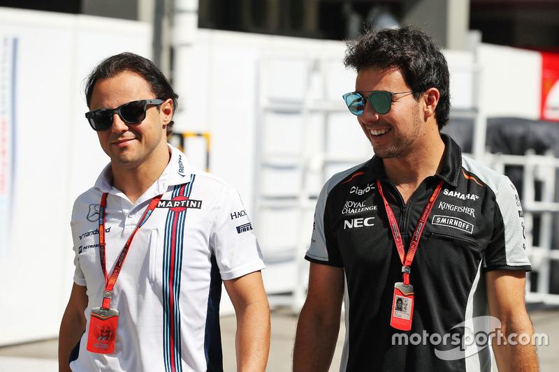 (L to R): Felipe Massa, Williams with Sergio Perez, Sahara Force India F1
