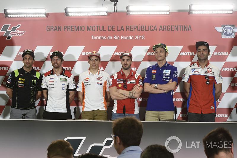 Johann Zarco, Monster Yamaha Tech 3, Cal Crutchlow, Team LCR Honda, Marc Marquez, Repsol Honda Team, Andrea Dovizioso, Ducati Team, Valentino Rossi, Yamaha Factory Racing, Danilo Petrucci, Pramac Racing