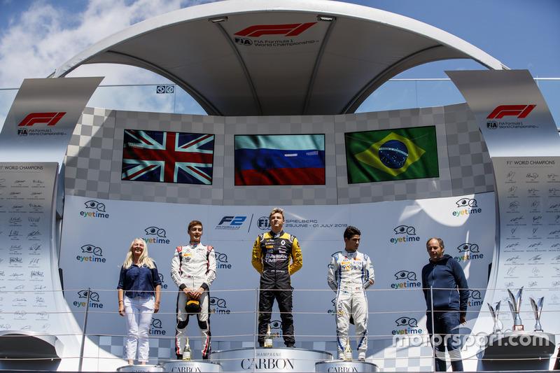 Podium: second place George Russell, ART Grand Prix, winner Artem Markelov, RUSSIAN TIME, third place Sergio Sette Camara, Carlin
